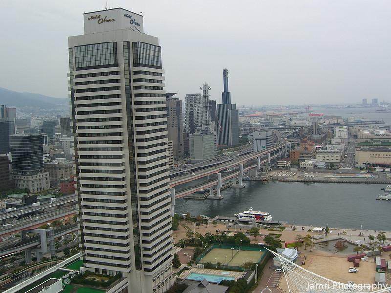 Towards the city.<br /> With the Hotel Okura in the foreground.<br /> From Kobe Port Tower.