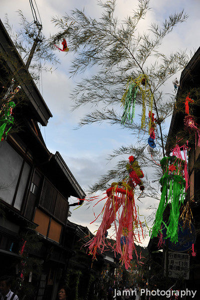 Tanabata again.<br /> Tanabata is a festival celebrated on the evening of 7th day of the 7th month, normally the decorations come out for 7 days leading up to it. Most of Japan follows this day now according to the Western Gregorian Calendar (that is July 7th), however in Takayama they still celebrate it according to the Chinese Luna Calendar which the 7/7 this year fell on August 6th. So because I was in Takayama at the right time I got to see Tanabata decorations twice this year.