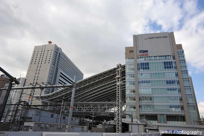 The New JR Osaka Station Complex.<br /> Well I guess Osaka didn't want to be outdone by Kyoto, but the architectures a bit plain compared to Kyoto. It hasn't opened yet so we'll see what it's like once it opens.