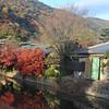 Traditional Restaurants along the Stream.<br /> In Arashiyama, Kyoto.