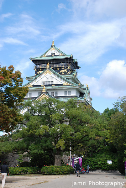Behind the Trees.<br /> The main building of Osaka Castle.