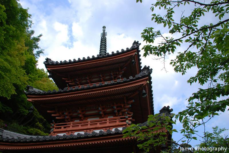 Pagoda up close.<br /> At Mimuroto-ji (a Buddhist Temple) in Uji, Kyoto-fu.