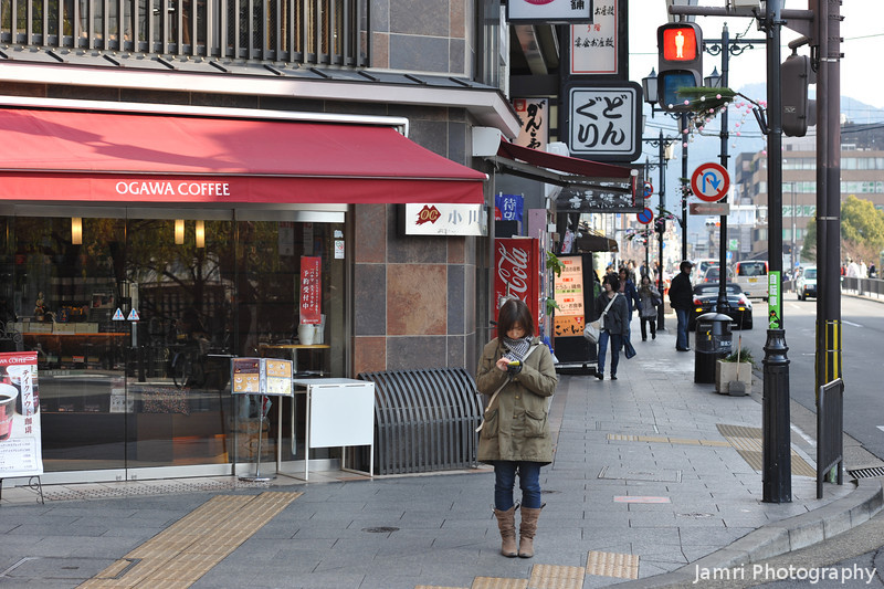 Outside a Coffee Shop.