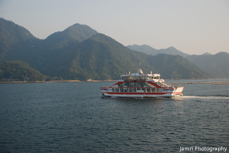 We depart Miyajima as another Boat Arrives.