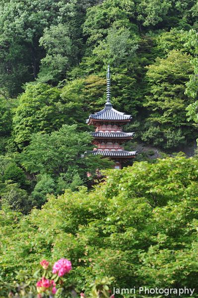 A Pagoda on a Hill.<br /> At Mimuroto-ji (Mimuroto Temple) in Uji, Kyoto.