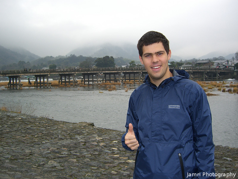 Dave gives Arashiyama the Thumbs Up.<br /> Despite the appalling weather.