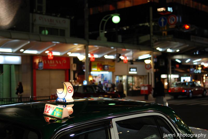 Night Taxi.<br /> Along Kawaramachi-dori, Kyoto.