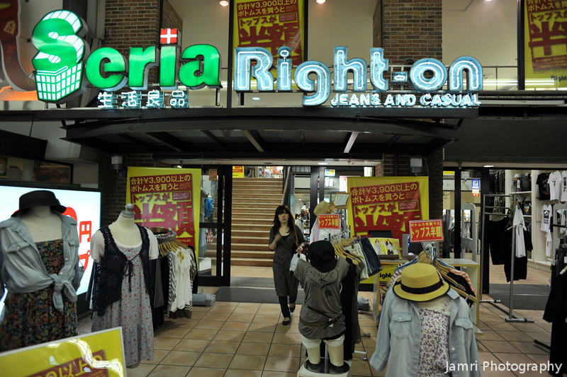 Casual Fashion.<br /> Right-on is a casual fashion store a bit more upmarket (but without the huge range) than Uniqlo. Seria is 100yen shop.