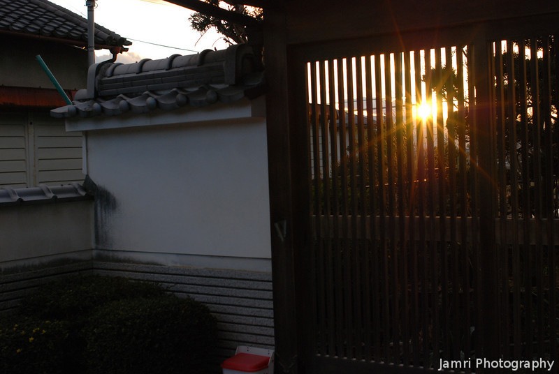 The Sun through a Doorway.<br /> Out in the countryside around Sakurai in Nara Prefecture.