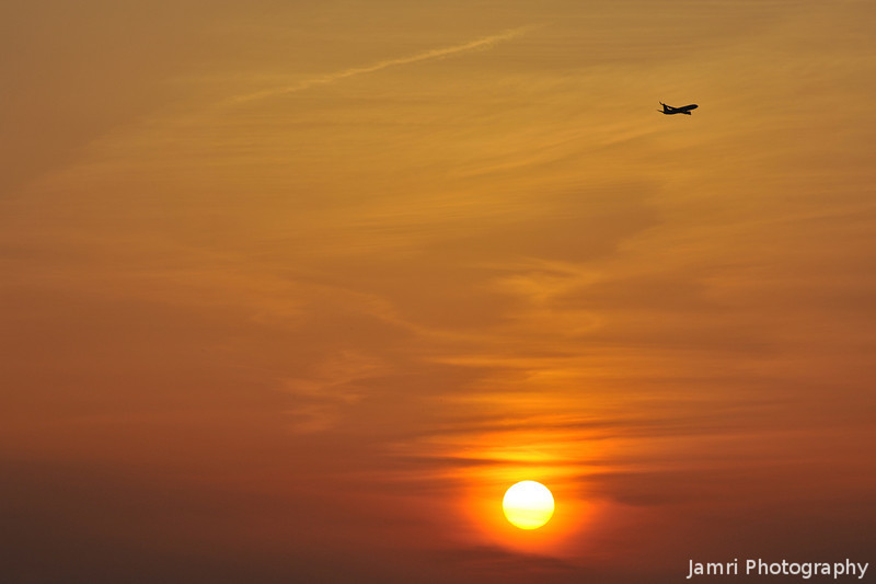 Flying off into the Sunset.<br /> From Kansai Airport.