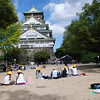 The Art Excursion.<br /> Primary school students draw pictures of Osaka Castle for their art class.