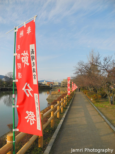 Red Flags.<br /> Along the lake front at Nagaoka Tenmangu Shrine Park.