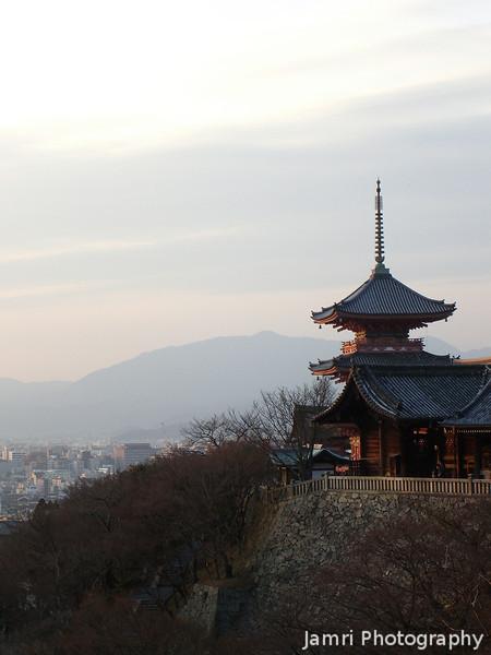 The Pagoda at Sunset.<br /> At Kiyomizu-dera (Kiyomizu Temple) in Higashiyama, Kyoto.