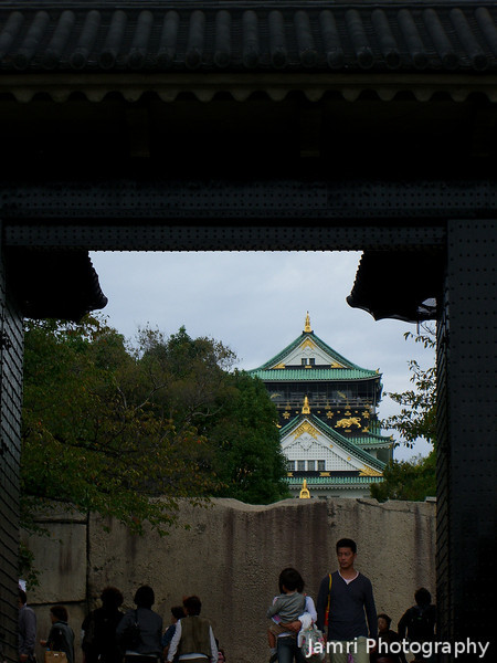 Through the Castle Gates.<br /> At Osaka Castle.