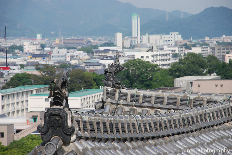 Roof tiles of Himeji Castle and Himeji city in the background.