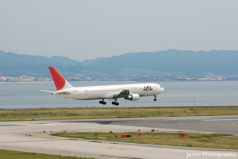 JAL Landing.<br /> At Kansai Airport.