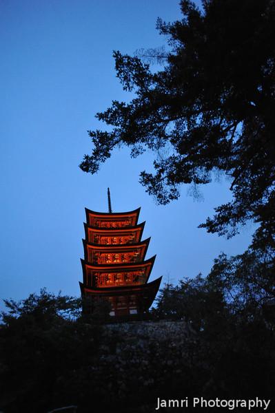 Lit up Pagoda.<br /> The five storey pagoda on Miyajima Island.
