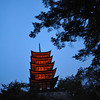 Lit up Pagoda.<br /> The five storey pagoda on Miyajima Island.