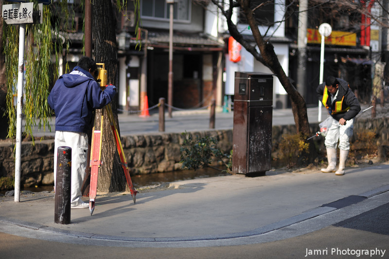 Surveying.<br /> In the streets of Kyoto.