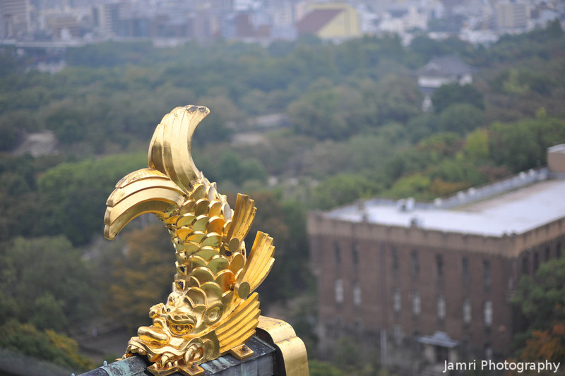 A Golden Dolphin.<br /> While it may not look like it (note the scales) it's supposed to be representative of a dolphin. In the background is the remaining building from an 1930-1940s Japanese Army Barracks which was on the grounds of the Osaka Castle. That building more recently was the Osaka History Museum, but now the Museum has moved to a modern building across the road from the castle grounds.