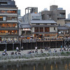 A Busy Night along the Kamogawa (Kamo River).<br /> A public holiday brought a lot of people out along the Kamo River.