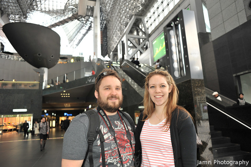 Nathan and Tess in Kyoto Station.<br /> They've come to visit us for a while, this was taken just before they went to off to Hiroshima for the day.