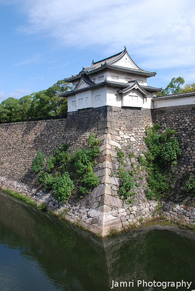 The Castle Wall.<br /> Although the central building at Osaka Castle is a concrete reconstruction, the walls and some of the turrets on them are originals.