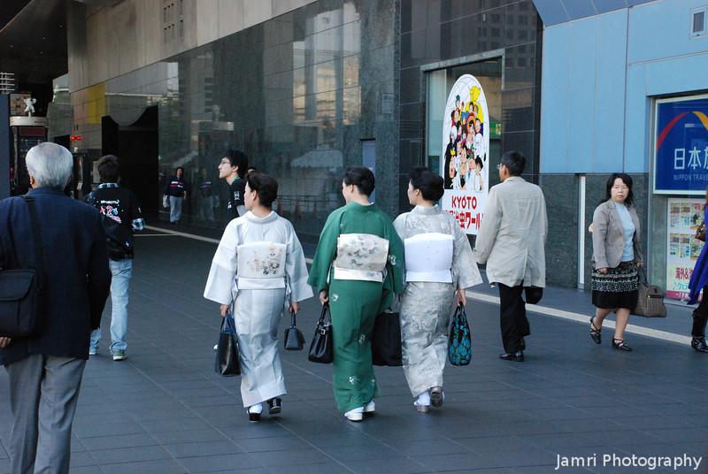 Three Ladies in Kimono.<br /> At Kyoto Train Station.