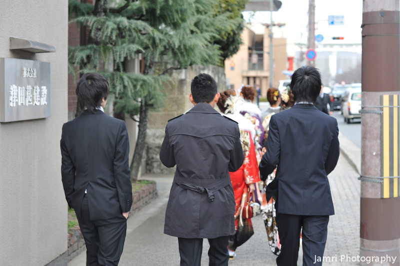 Heading to the Coming of Age Day Ceremony in a Group.