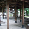 """The Inner Sanctuary at Kaikonoyashiro.<br /> Take from just outside the barrier. Not unlike most Shrine's this one is open air with just a roof. Note the steps at the back which lead up to the """"god box"""", the place where the god of this shrine is believed to reside."""