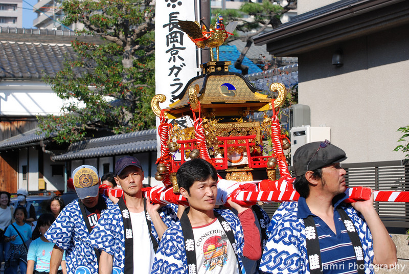 "Carrying a Mikoshi.<br /> During Garasha Matsuri (the festival to celebrate Nagaokakyo's most famous Christian) a Mikoshi (which is a vehicle carrying a Shinto God) is carried from one shrine to another. This kind of thing to me seems like carrying the ""Ark of the Covenant"", which adds to the Japanese lost tribe theories."
