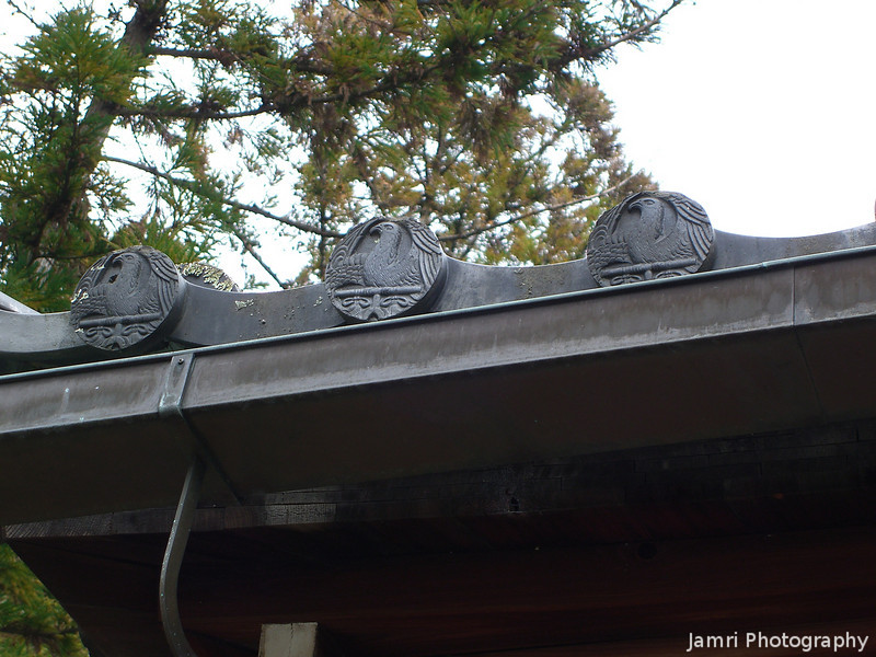 Eagle Crests.<br /> On one of the oldest buildings in Koryu-ji (Koryu Temple).