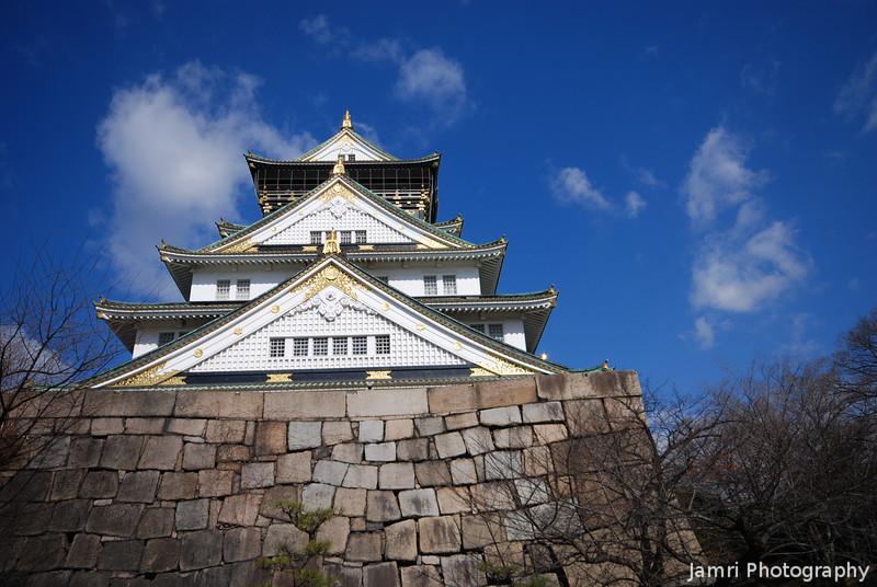 Osaka Castle from below.