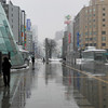 A wet and snowy day in Sapporo.<br /> It was a little warm (2C) so the snow was melting on contact with the ground.