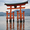 Reflections of the Torii.<br /> At Itsukushima Shrine on Miyajima, Hiroshima Prefecture.