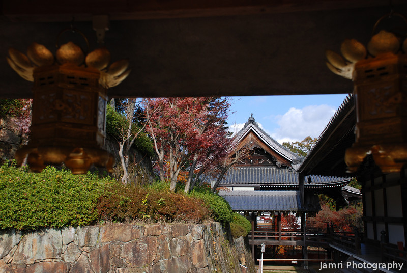 Temple Buildings.<br /> At Komyo-ji (a Buddhist Temple) in Nagaokakyo.