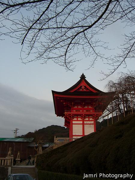 Temple gate in the early evening.<br /> At Kiyomizu-dera (Kiyomizu Temple).
