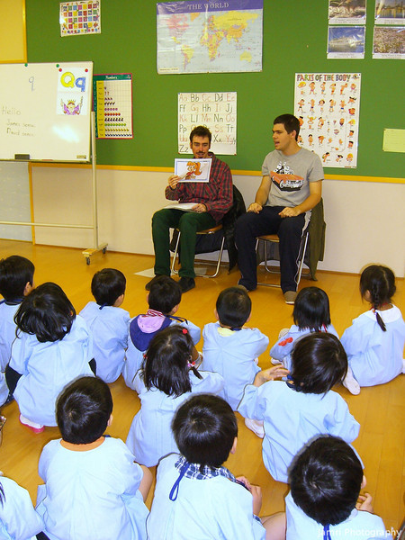 The Last Day of English Classes for the School Year.<br /> Dave helped me teach for the last three days of the Kindergarten classes. The school year in Japan runs from April to March, at Megumi kindergarten the English programme goes from May to January. Since February they are busy with the school musical presentations, and March with graduations, April with Enrolments. During the 3 months off this year I'm writing a new work book for the 6YO classes. Plus I'm still teaching private classes and company classes, and church is still going as usual so it's not really a 3 months holiday.<br /> Photo by Mitsuko Fujita.