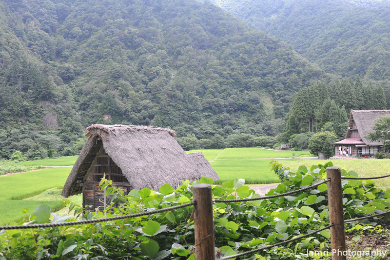 The first glimpse of the village.<br /> Suganuma village in the Gokayama district.