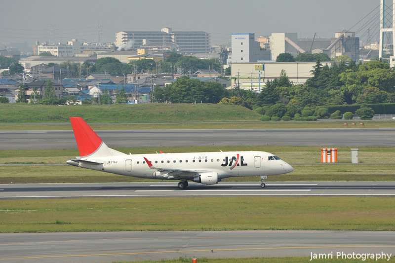 JAL (J-Air) Embraer 170 on Take Off Role.<br /> At Itami Airport.
