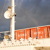 Rainbow over the boat.<br /> Looking up towards the top deck of the boat we were on and there was a rainbow in the sky.
