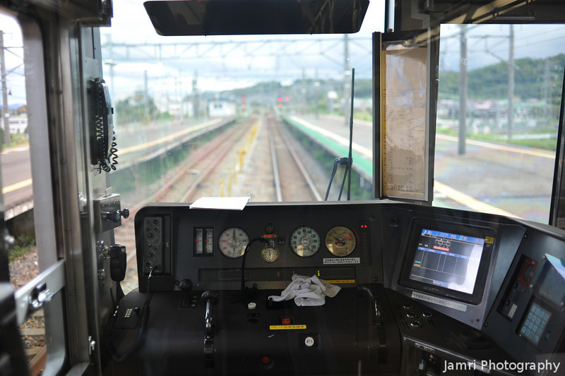From Behind the Driver's Seat.<br /> I love how the trains in Japan let you see right through to the front including the drivers seat. This was before the driver got on board as we were early for this train at it's first stop.