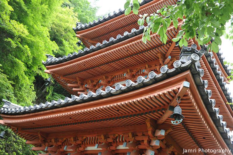 Up close to the pagoda.<br /> At Mimuroto-ji (a Buddhist Temple).