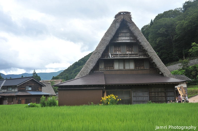 A Gassho-zukuri house with Flowers.<br /> If you look carefully you can see a microwave dish! Kind of spoils the traditional effect, but I guess it's pretty boring out here so they've go to have some fun...