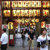 At the Arcade Shrine.<br /> In the middle of a shopping arcade in Kyoto there is a Shinto Shrine.