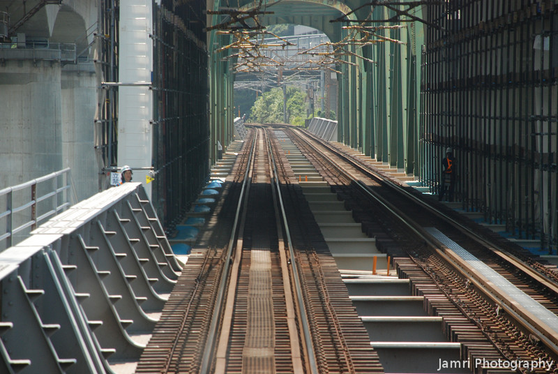 Down the tracks.<br /> The view out the front of the train from Hiroshima to Miyajima.