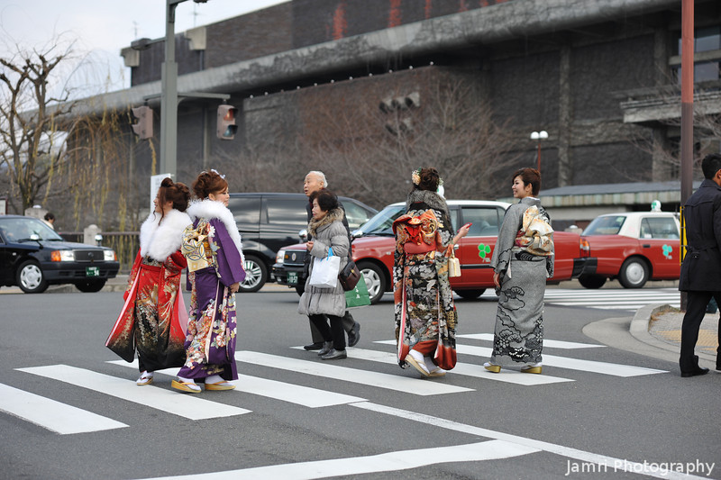 Crossing Over.<br /> Some young ladies on the way to the Coming of Age Day ceremony.