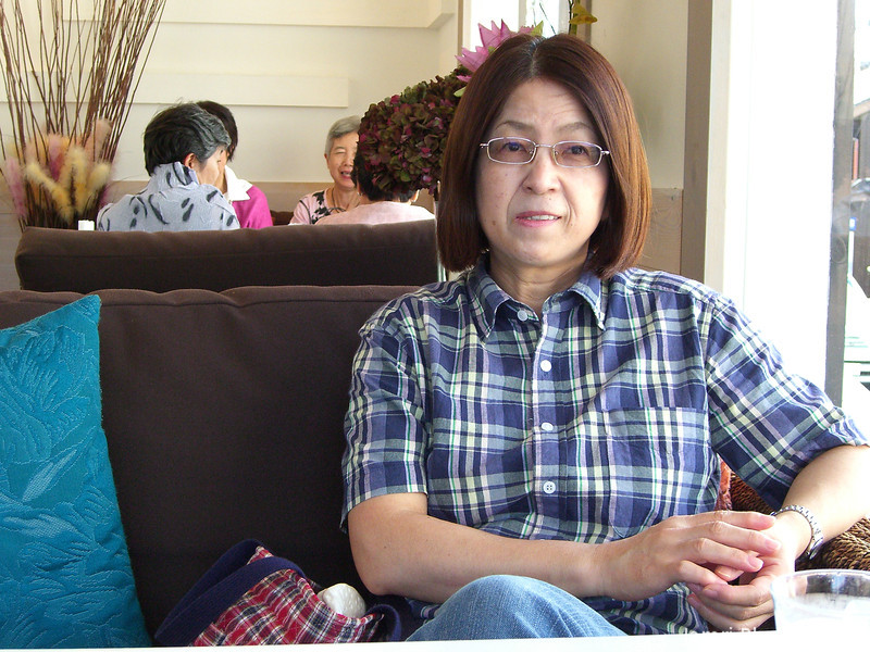 Ritsuko at Hermit Green Cafe.<br /> Oyamazaki town, Kyoto-fu, Japan.