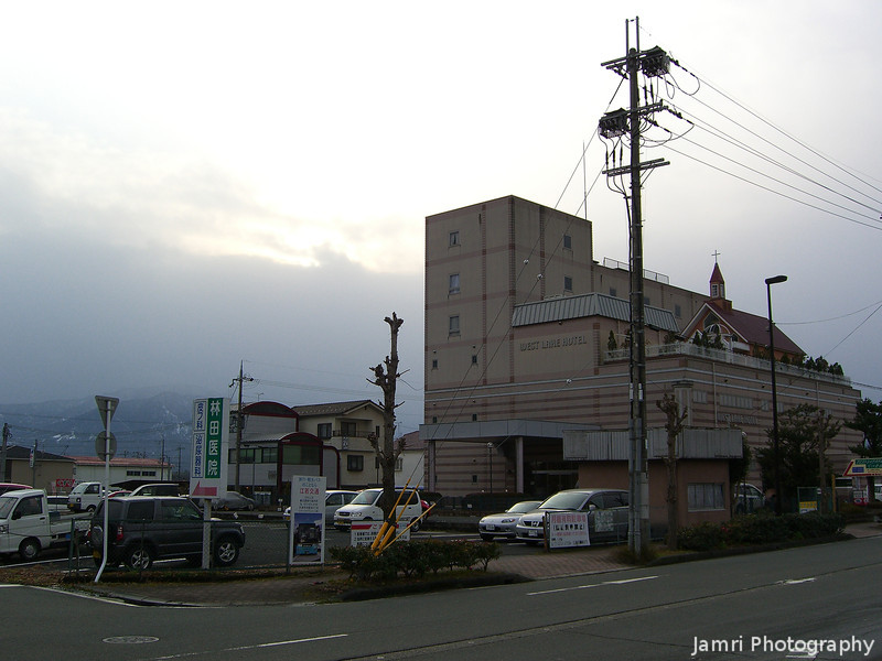 West Lake Hotel.<br /> Complete with Wedding Chapel on the right roof top.<br /> Adogawa, Shiga Prefecture.