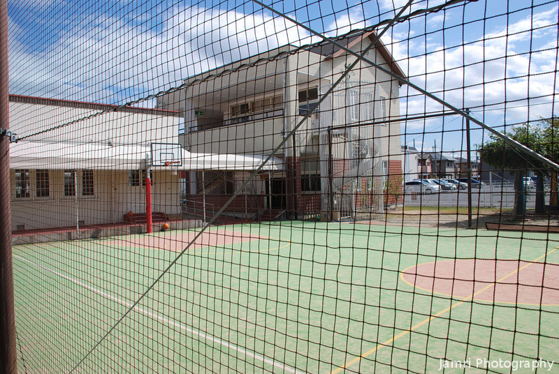Basketball Court.<br /> At the Omikyodaisha School (the school which Vories started).